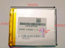 best battery brand Size 408080 3.7V 3500mah Lithium polymer Battery with Protection Board For PDA Tablet PCs Digital Products Fr