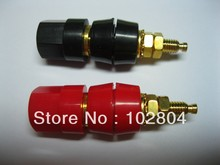 High quality Gold Plated Binding Post Banana Jack 50mm 2 colors Red & Black  50 pcs per lot