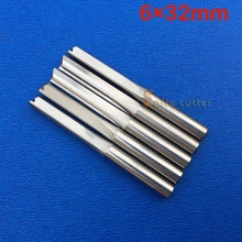 5 pcs 6*32mm Two Double Flutes Straight Slot Bits, Wood Cutters, Solid Carbide Foma CNC Router Bit(China)