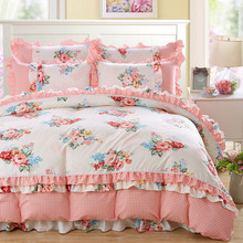 IvaRose Korean style bedding sets ruffle thick 100% cotton queen duvet cover bed sheet pillows bedline for girls/girlfriend