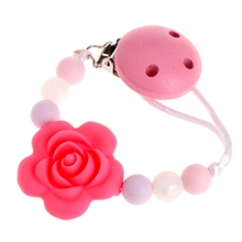 Buy Baby Kids Silicone Chain Clip Holders Flower Pacifier Soother Nipple Leash Strap for $1.88 in AliExpress store