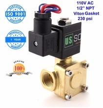"U. S. Solid 1/2"" Brass Electric Solenoid Valve 110 V AC NPT Thread Normally Closed Air Water Viton Gasket CE ISO Certificated(China)"