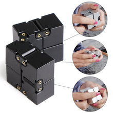 Newest Fashion Metal Fidget Cube For Stress Relief Fidget Novelty Gags Anxiety Anti Stress Funny EDC Toy Metal Infinity Cube(China)