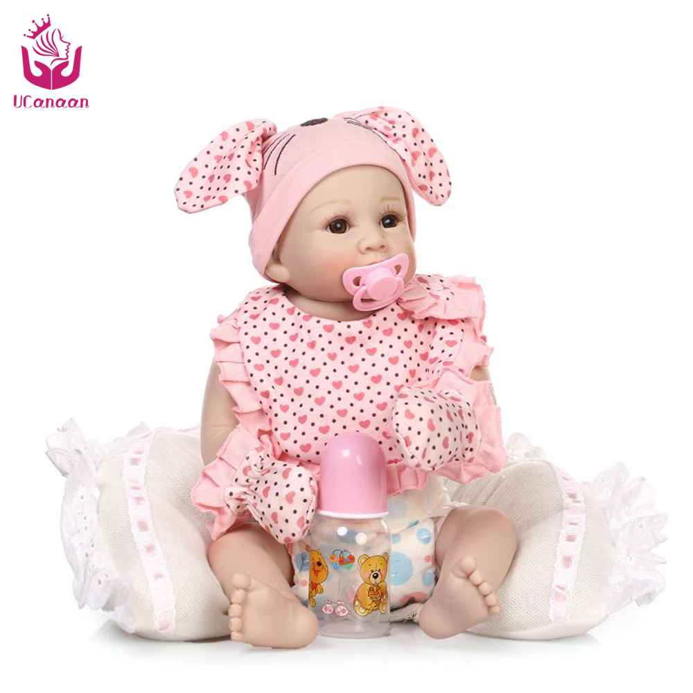 UCanaan 50-56cm Cute Full Vinyl Silicone Reborn Baby Dolls With Cartoon Rabbit Clothes The Best Birthday /Christmas Gift<br><br>Aliexpress