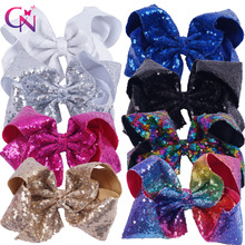 "8 Pieces/lot 8"" Sequin Hair Bows With Clips For Kids Girls Handmade Large Bling Rainbow Sequin Bows Hairgrips Hair Accessories(China)"