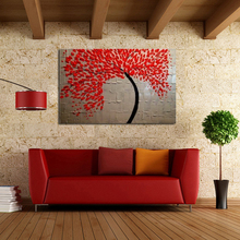 100% Hand-painted Free Shipping Modern Wall Art for Home decoration Abstract Red Tree Oil Painting on Canvas Art Work