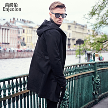Enjeolon brand 2017 Bomber casual long windbreaker jackets men, black tactical coats plus size 3XL Jacket clothes JK0429(China)