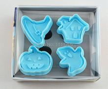 2set ABS Halloween Ghost Mold 3D cakes tools Spring pressing cutting Bakeware stand Cooking Tools Fondant Pudding Moulds cookies