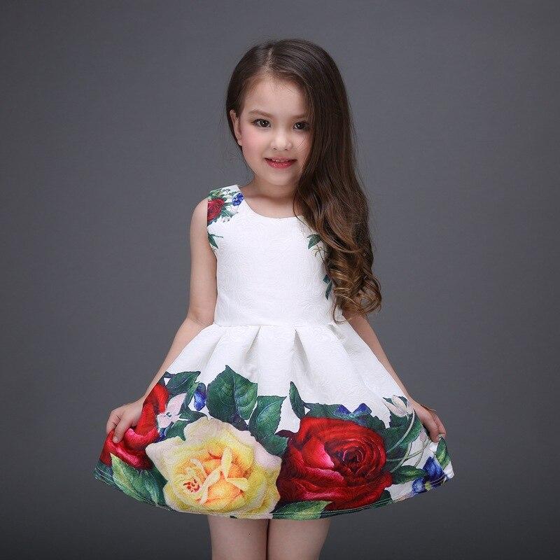 2017 Summer Girls Dress peony flowers Princess Dress  Print Dress Europe dress lace high quality fashion belt kids clothes<br><br>Aliexpress