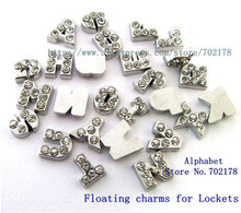 lowest price ! 26pcs zinc alloy and rhinestone floating letters charms 5-8mm for locket as Grandma grandpa mom sister Dad gift