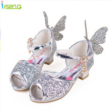 high heels Girls sandals children fashion princess leather summer toddler elsa shoes chaussure enfants fille sandalias