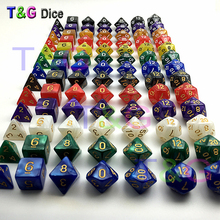 Top Best Promotion 7pc/set dice set Multi-Sided Dice with marble effect DND and RPG dice game For Parties Toy Bauble Gift(China)