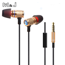 M&J Professional Monitor DJ Studio Bass stereo Ear Buds Earphone 3.5mm With MicMobile Phone Earphones For Iphone Samsung Apple(China)