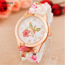 2017 New Design Women Girl Watch Silicone Printed Flower Causal Quartz WristWatches Female Gift Free Shipping,Dec 8*40(China)