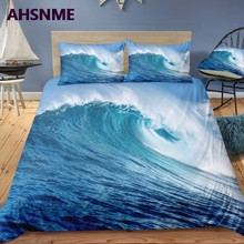 AHSNME Summer Seascape Features Quilt cover Set Big Wave 3D Effect Bedding Set can photo Customized King Bed Set(China)