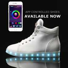 led high top shoes woman ligh up Glowing casual Flash shoes women flat with lace unisex hot fashion neon basket USB Charge shoes
