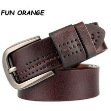 Fun Orange Men's Leather Belt Solid Top Quality Layer Leather Men's Belt metal pin buckle Casual Vintage for Jeans(China)