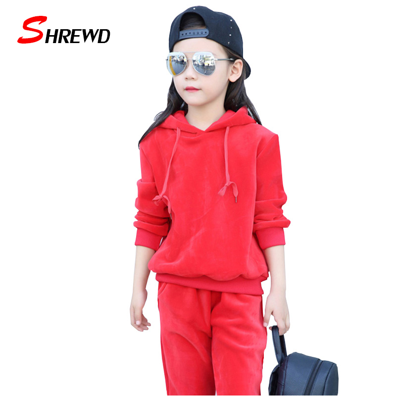 2017 Autumn Kids Clothing Sets Casual Thick Plus Velvet Kids Sweatshirts Hooded Long Sleeve+Trousers Girls Girls Clothes 5588W<br><br>Aliexpress