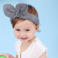 Dream Lover 1PC Lovely kids Girls Bow Hairband Turban Knot Rabbit Ear Headband Cotton Headwear Newborn Elastic Hair Bands(China)