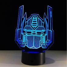 Transformers Lamp 3D Illusion LED Night Lights for Kids Optimus Prime Acrylic USB Table Lamparas as Besides Light Home Decor