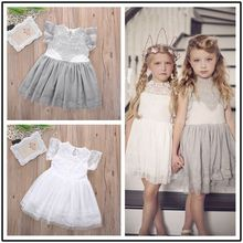 Girls Kid Baby Princess Dresses 2016 New Children Flower Party Clothing Lace Gray Pink White Floral Tulle Tutu Dress Girl Summer