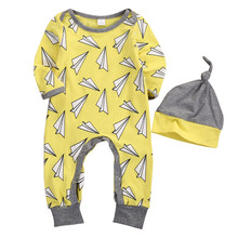 Newborn Cute Baby Boy Girl Clothes Romper Infant Baby Cotton Paper Plane Print Long Sleeve Yellow Jumpsuit Hat Outfit 2pc Casual