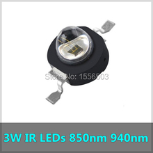 5 Pcs/lot 3W Infrared IR 850nm 940nm High Power LED Bead Emitter Chip CCTV Night Camera Diode for Security 140 degree Black LEDs(China)