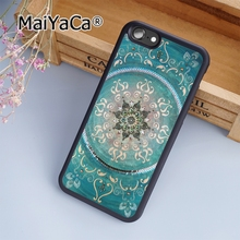 MaiYaCa Turquoise Mandala x Lace Wood U Soft Rubber cell phone Case Cover for iPhone 5 5S SE phone cover shell(China)