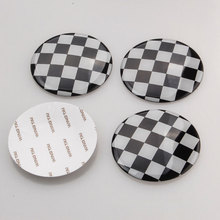 4pcs/set 52mm Checkered Pattern Wheel Center Hub Cap Emblem Sticker For Cooper 2002-2013 Car Styling Auto Accessories(China)