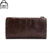 [NEWTALL] 2017 Genuine Leather More Head Layer Cowhide Oil Wax for Long Purse Business Man Large Wallet Free Shipping  B1141