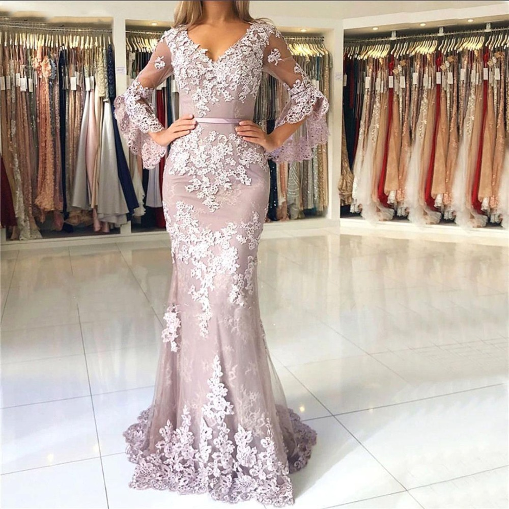 New Arrival Mermaid Pink Prom Dresses 2019 Illusion Long Sleeves Applique Lace Party Gowns Long Evening Dress vestido de festa