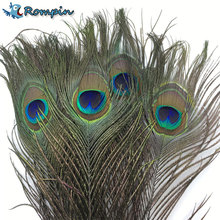 Rompin 10pcs Natural Peacock Tail Eye Hair for Fly Tying Streamer Flies Olive Peacock Feather Fly Fishing Lure Bait DIY Material(China)