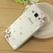 New 3D White Flower Bling Crystal Diamond Transparent Cell Phone Shell Back Cover Hard Case For Samsung Galaxy J3