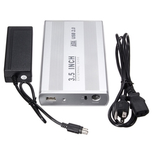 HDD Enclosure 3.5 inch Silver USB 2.0 SATA External HDD HD Hard Drive Enclosure Case Box With Power Cable Adapter