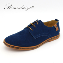 Buy BIMUDUIYU Brand Minimalist Design Genuine Suede Leather Men Casual Shoes Hot Sale Flat British Style Oxford Shoes Big Size 38-48 for $22.28 in AliExpress store