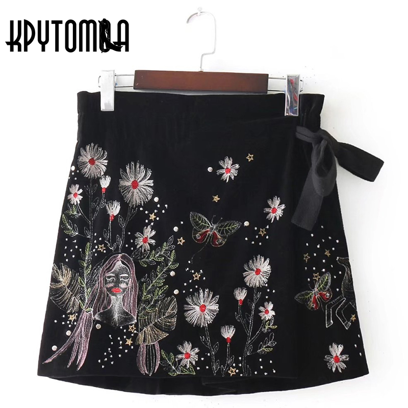 Vintage Pretty Girl Floral Embroidery Velvet Mini Skirt Women 2018 New Fashion Bow Tie Elastic Waist Skirt Casual Saias Mujer