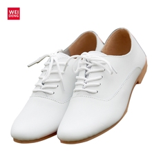 WeiDeng Woman Genuine Leather Preppy Style Lace Up Casual Pointed Flat Non Slip Office Lady OL Soft Fashion Shoes Pointed