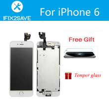 LCD Screen Display Touch Digitizer For iPhone 6 Full Assembly Replacement Home Button+Fromt Camera EarSpeaker+Temper Glass+Gift
