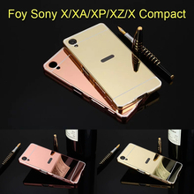 Mirror Aluminum Case For Sony Xperia X//XP/XA Luxury Metal Frame Ultra Slim Acrylic Phone Cover For Sony Xperia XZ/X Compact