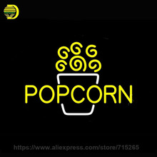 "Neon Sign Yellow Popcorn Neon Light Sign Cinema Neon Bulb handmade Glass Tube Display Personalized Signs Warrant 30""x17""(China)"