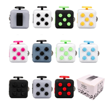 Fidget Cube Vinyl Desk Toy Keychain Squeeze Fun Stress Reliever 2.2cm 11 Colour Click Glide Flip Spin Breathe Roll With Box