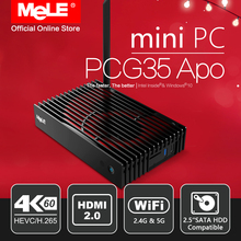 RED Edition MeLE PCG35 Apo Fanless Windows 10 Mini PC Desktop 4GB 32GB Intel Apollo Lake Celeron J3455 4K UHD WiFi LAN HDMI 2.0