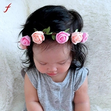 Fashion Girls Flower Headband DIY Rose Hair Band Girl Girl Head Wrap Band Girl Hair Accessories Couronne De Fleurs(China)
