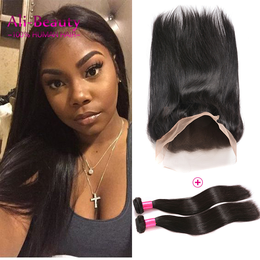 360 Closure With Bundles Virgin Hair Brazilian Bundles With Frontal Closure Malaysia 360 Frontal Straight Closure Weave Closure<br><br>Aliexpress
