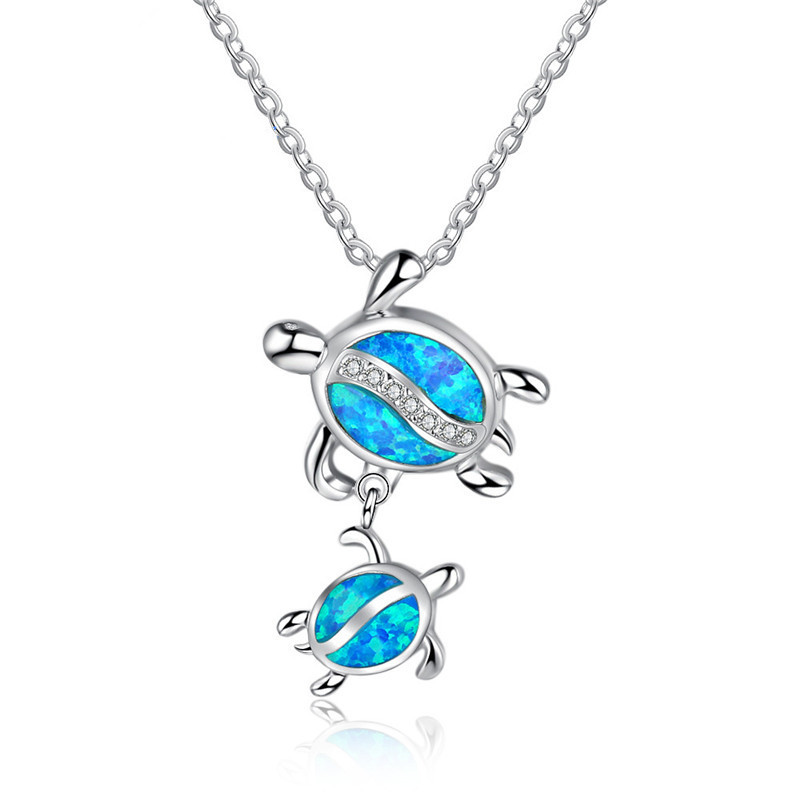 Fashion Silver Filled Blue Imitati Opal Sea Turtle Pendant Necklace for Women Female Animal Wedding Ocean Beach Jewelry Gift 10