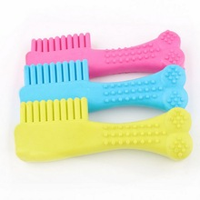 1pc Creative TPR Healthy Rubber Comb Dog/Cat Chew Toy Dental Care Teeth Clean Teethers Pet Supplies Color Random