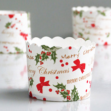 New Big Size 6x5.3x7CM 50ps/bag New Snowman Pine tree Jingle Bell Sauta Elk design Merry Xmas Christmas Paper baking cake cup