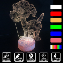 Lovely dog Acrylic Colorful changing nightlight novetty home decoration lighting LED 3D Visual USB table desk lamp IY803680-55