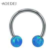 AOEDEJ 3 Colors Blue Fire Opal Stone Piercing Septum Stainless Cartilage Steel Septum Ring Balls Ear Piercing Nariz Aro Negro(China)