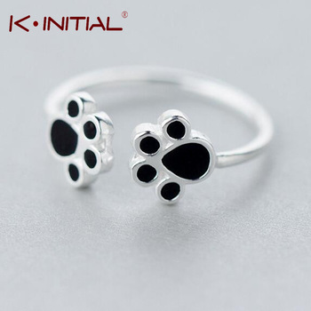 Kinitial 1Pcs 925 Silver Hot Double Dog Paw Rings New Fashion Animal Cats Paws Ring Wedding Anniversary Accessory Jewelry Gift